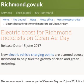 Richmond.Gov.UK – Electric boost for Richmond motorists on Clean Air Day