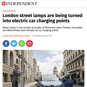 London street lamps are being turned into electric car charging points