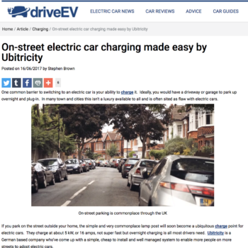 On-street electric car charging made easy by Ubitricity