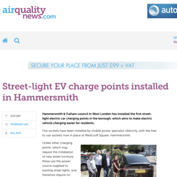 Street-light EV charge points installed in Hammersmith