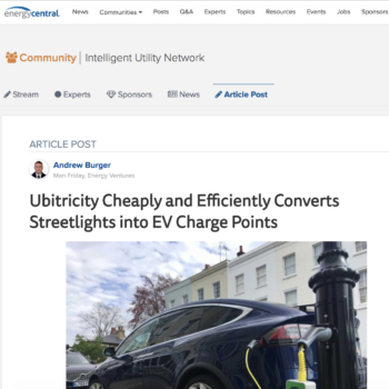 Ubitricity Cheaply and Efficiently Converts Streetlights into EV Charge Points