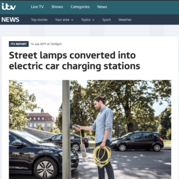 Street lamps converted into electric car charging stations