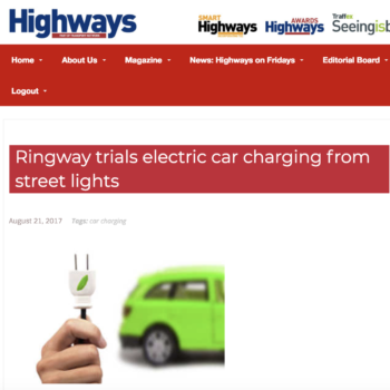 Ringway trials electric car charging from street light