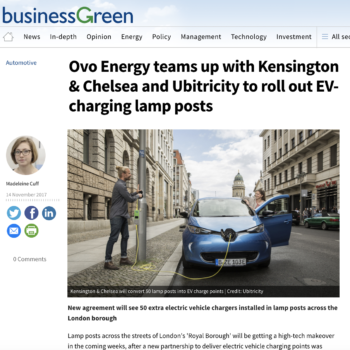 Ovo Energy teams up with Kensington & Chelsea and Ubitricity to roll out EV-charging lamp posts
