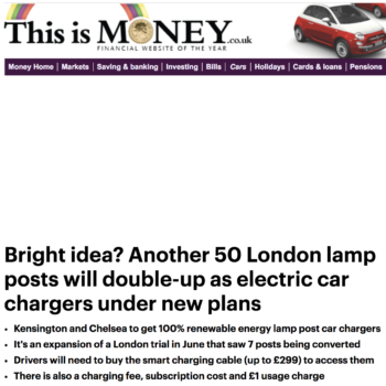 Bright idea? Another 50 London lamp posts will double-up as electric car chargers under new plans