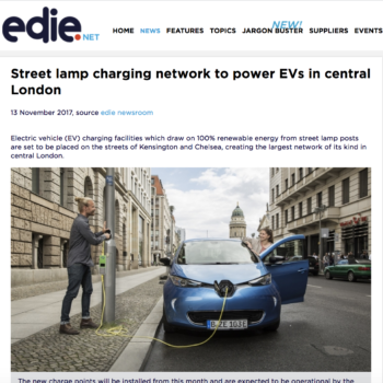 Street lamp charging network to power EVs in central London