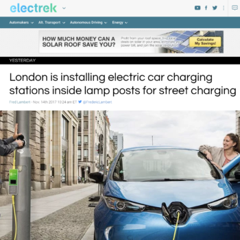 London is installing electric car post charging stations inside lamp posts for street charging