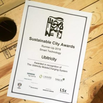 "ubitricity awarded ""Runner-Up"" – London's Sustainable City Awards"